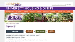 Sign Up   Clemson Home - Clemson Housing & Dining