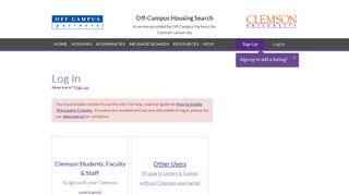 Clemson University   Off Campus Housing Search   Account Login