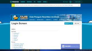 Login Screen | Club Penguin Rewritten Archives Wiki | FANDOM ...