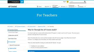 For Teachers – AP Course Audit | AP Central – The College Board