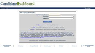 Candidate Dashboard Log In - TSA - Homeland Security
