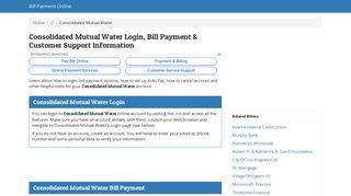 Consolidated Mutual Water Login, Bill Payment & Customer Support ...