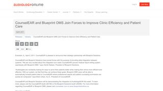 CounselEAR and Blueprint OMS Join Forces to Improve Clinic ...