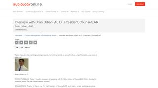 Interview with Brian Urban, Au.D., President, CounselEAR Brian ...