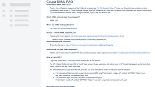 Coupa SAML FAQ - integrate.coupa.com - Coupa Docs