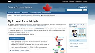 My Account for Individuals - Canada Revenue Agency