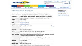 Credit Canada Debt Solutions - Head Office/North York Office ...