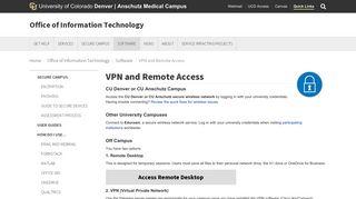VPN and Remote Access - CU Denver