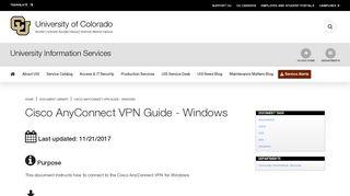 Cisco AnyConnect VPN Guide - Windows   University of Colorado