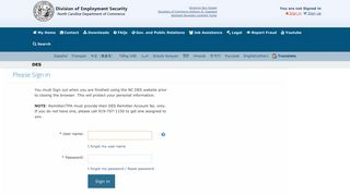 NC Division of Employment Security :: Login