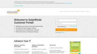 Customer Portal Login   SolarWinds