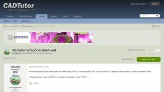 Diameter Symbol In Arial Font - CAD Management - AutoCAD Forums ...