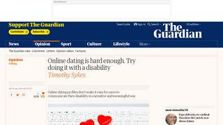 Online dating is hard enough. Try doing it with a disability | Timothy ...