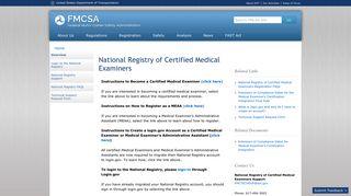 National Registry of Certified Medical Examiners   Federal Motor ...