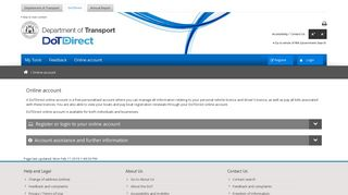 Online account - Department of Transport