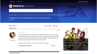 Solved: Forgotten my email AND password for my origin account ...