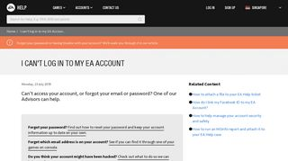 I can't log in to my EA Account - EA Help - Electronic Arts