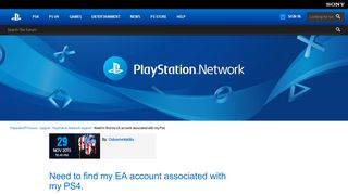 Need to find my EA account associated with my PS4. - PlayStation ...