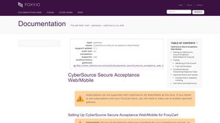CyberSource Secure Acceptance Web/Mobile - Foxy Wiki