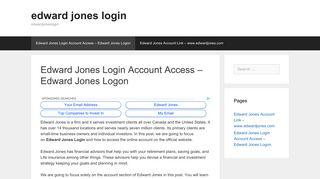 Edward Jones Logon: Edward Jones Login Account Access