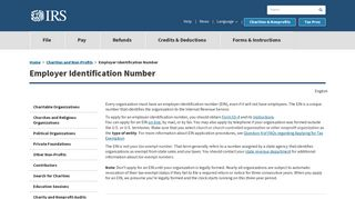 Employer Identification Number | Internal Revenue Service - IRS.gov
