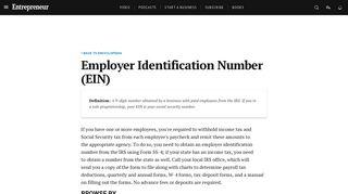 Employer Identification Number (EIN) Definition - Entrepreneur Small ...