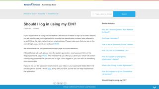 Should I log in using my EIN? – Network for Good