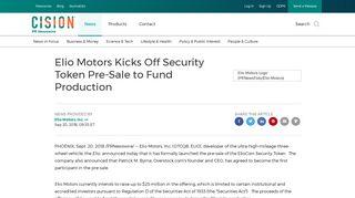 Elio Motors Kicks Off Security Token Pre-Sale to Fund Production