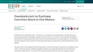 Overstock.com to Purchase Common Stock in Elio Motors