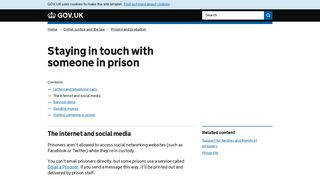 Staying in touch with someone in prison: The internet and ... - Gov.uk