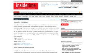 Email a Prisoner   insidetime & insideinformation