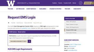Request EMS Login | The HUB - University of Washington