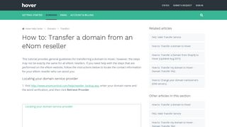 How to: Transfer a domain from an eNom reseller – Hover Help Center