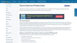 PF Status- Check EPF Status Online - BankBazaar