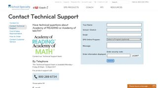 Contact Technical Support | School Specialty | EPS
