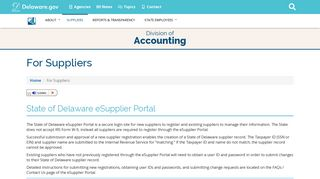 State of Delaware eSupplier Portal - Delaware's Division of Accounting