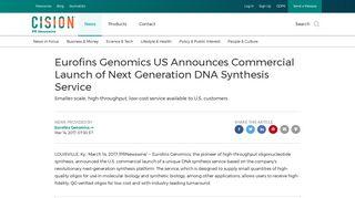 Eurofins Genomics US Announces Commercial Launch of Next ...