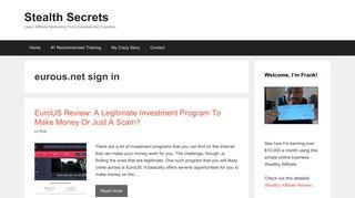 eurous.net sign in | | Stealth Secrets