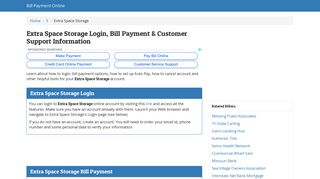 Extra Space Storage Login, Bill Payment ... - Bill Payment Online
