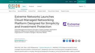 Extreme Networks Launches Cloud-Managed Networking Platform ...