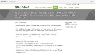 Error: App Not Setup: This app is still in development mode, and you ...