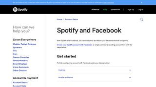 Spotify and Facebook - Spotify