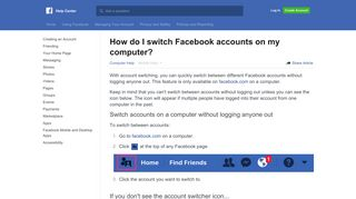 How do I switch Facebook accounts on my computer? | Facebook ...