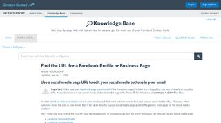 Find the URL for a Facebook Profile or Business Page