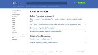 Create an Account   Facebook Help Center   Facebook