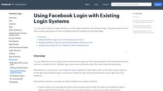 Using with Existing Login Systems - Facebook Login