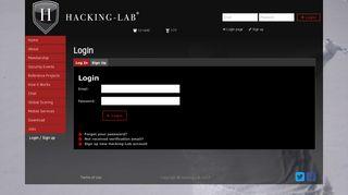 Login / Sign up - Hacking-Lab.com