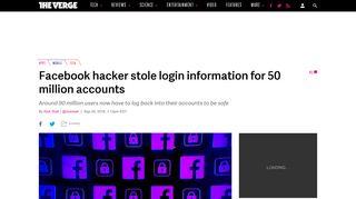 Facebook hacker stole login information for 50 million accounts ...