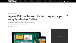 Apple's iOS 11 will make it harder to log into apps using Facebook ...