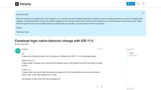 Facebook login native behavior change with iOS 11.0 - Help with ...